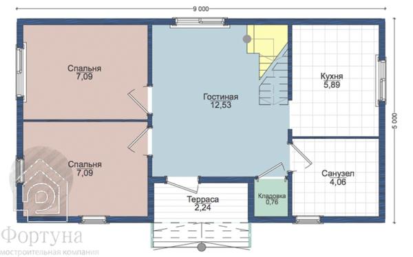 "Каркасный дом ""Никлас-69"" 9x5 - План 1-го этажа"