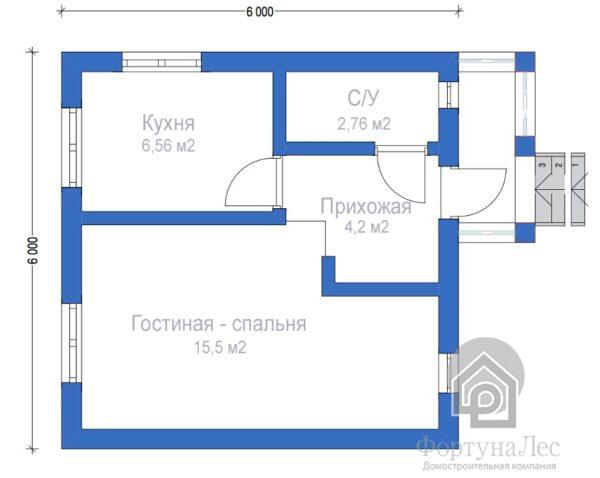 """Дом из бруса """"Писатель"""" 6x6 - Планировка"""