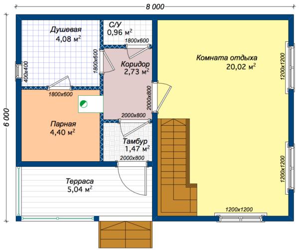 "Баня из бруса ""Боярин"" 6x8 - план 1-го этажа"