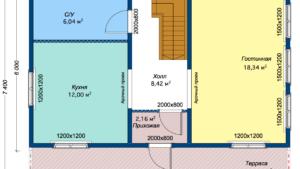 Дом из бруса Колль 7,4x9,5 - План 1-го этажа