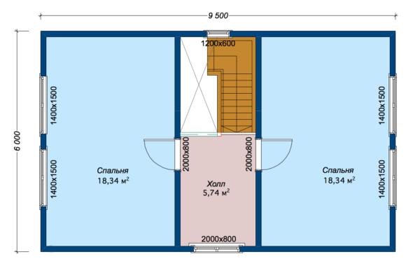 Дом из бруса Колль 7,4x9,5 - План мансарды